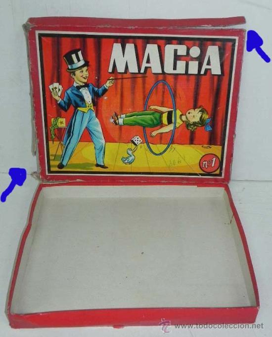 ANTIGUA CAJA DE MAGIA Nº 1 - CON LITOGRAFIA FIRMADA POR SABATES - CAJA VACIA, LA TAPA TIENE DESPERFE (Juguetes - Juegos - Juegos de Mesa)