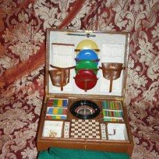 Juegos de mesa: BONITO MALETÍN DE CUERO CON EL JUEGO DE LA RULETA, AJEDREZ, POKER - AÑOS 40. Lote 32235699