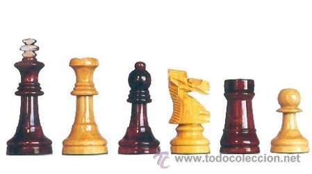 CHESS. JUEGO DE PIEZAS DE AJEDREZ DE MADERA DE BOJ STAUNTON FS-4 COLOR NATURAL Y TEÑIDO CAOBA OSCURO (Juguetes - Juegos - Juegos de Mesa)