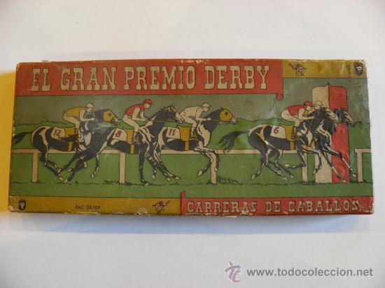 EL GRAN PREMIO DERBY. CARRERAS DE CABALLOS. AÑOS 30/40. UN DADO Y 5 CABALLOS DE PLOMO. (Juguetes - Juegos - Juegos de Mesa)