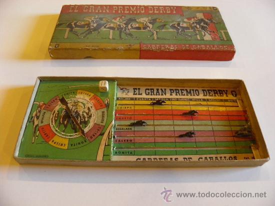 Juegos de mesa: El Gran Premio Derby. Carreras de Caballos. Años 30/40. Un dado y 5 caballos de plomo. - Foto 2 - 34546939