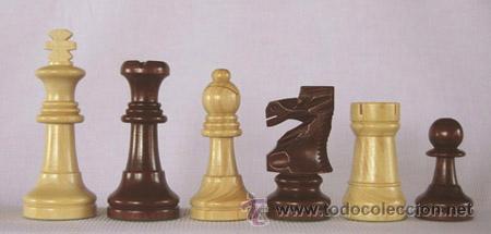 CHESS. JUEGO DE PIEZAS DE AJEDREZ DE MADERA BOJ STAUNTON FS-5-PUL. COL NATURAL Y TEÑIDO CAOBA OSCURO (Juguetes - Juegos - Juegos de Mesa)