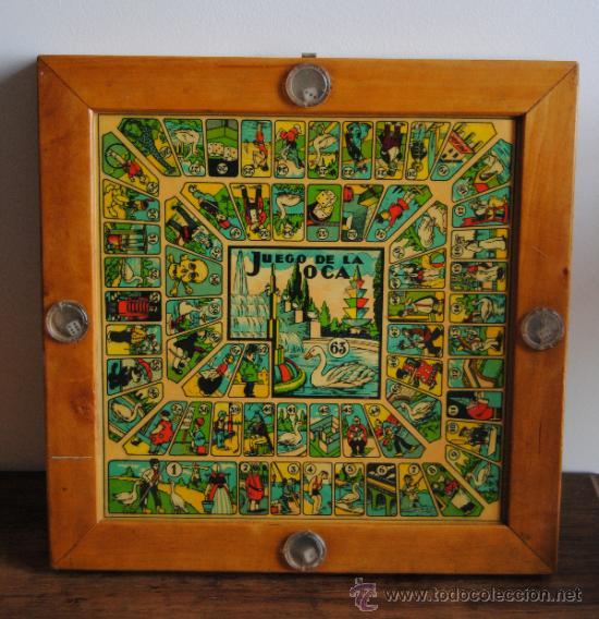 Antiguo tablero de madera juego de la oca y pa comprar juegos de mesa antiguos en - La oca juego de mesa ...