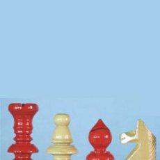Juegos de mesa: JUEGO DE PIEZAS DE AJEDREZ DE MADERA DE BOJ ESPAÑOL FE-4. COLOR NATURAL Y ROJO. Lote 48950871
