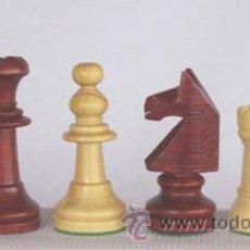 Juegos de mesa: JUEGO DE PIEZAS DE AJEDREZ DE MADERA DE BOJ INGLÉS FI-5. COLOR NATURAL Y TEÑIDO CAOBA. Lote 34915404
