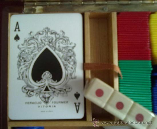 Juegos de mesa: CAJA DE PIEL Y MADERA CON LLAVE JUEGO DE CARTAS Y DADOS. BARAJA CON FICHAS - Foto 2 - 36659279