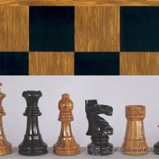 Juegos de mesa: CONJUNTO DE AJEDREZ DE MADERA STAUNTON OLIVO J-29. PIEZAS FSO-5 Y TABLERO TOL-48E. Lote 37829656