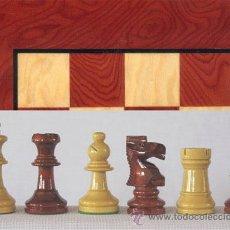 Juegos de mesa: CONJUNTO DE AJEDREZ DE MADERA STAUNTON NATURAL ROJO J-35. PIEZAS FS-3/AR Y TABLERO TAR-1. Lote 37853512
