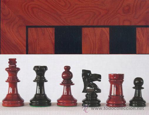 CHESS. CONJUNTO DE AJEDREZ DE MADERA STAUNTON ROJO/NEGRO J-36. PIEZAS FS-3/RN Y TABLERO TRN-1 (Juguetes - Juegos - Juegos de Mesa)
