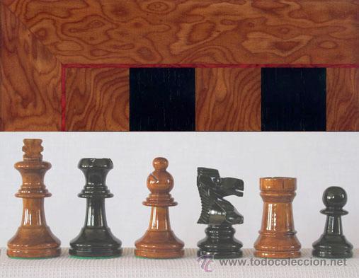 CONJUNTO DE AJEDREZ DE MADERA STAUNTON MIEL/NEGRO J-37. PIEZAS FS-3/MN Y TABLERO TMN-1 (Juguetes - Juegos - Juegos de Mesa)