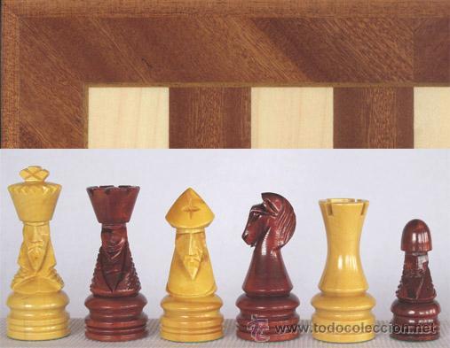 CHESS. CONJUNTO DE AJEDREZ DE MADERA CORONA DECORADO J-19. PIEZAS FD-22 Y TABLERO TDS-1 (Juguetes - Juegos - Juegos de Mesa)