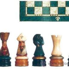 Juegos de mesa: CONJUNTO DE AJEDREZ DE MADERA CORONA POLICROMADO VERDE J-21/V. PIEZAS FD-22/V Y TABLERO TPOL-40V. Lote 37867484