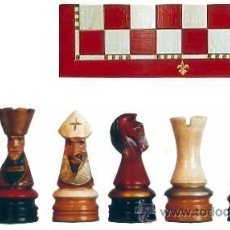 Juegos de mesa: CONJUNTO DE AJEDREZ DE MADERA CORONA POLICROMADO ROJO J-21/R. PIEZAS FD-22/R Y TABLERO TPOL-40R. Lote 37867611