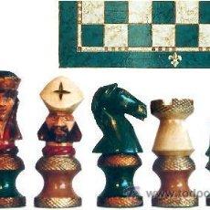 Juegos de mesa: CONJUNTO DE AJEDREZ DE MADERA ROYAL VERDE/PLATA J-15/V. PIEZAS FD-12/V Y TABLERO TPOL-50V. Lote 38075251