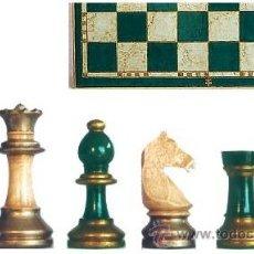Juegos de mesa: CONJUNTO DE AJEDREZ DE MADERA STAUNTON EUROPA VERDE/PLATA J-22/V. PIEZAS FSE-5V Y TABLERO TPOL-44V. Lote 38081558