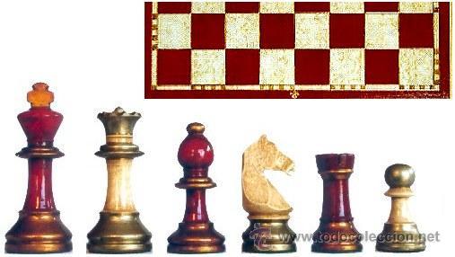 CONJUNTO DE AJEDREZ DE MADERA STAUNTON EUROPA ROJO/PLATA J-22/R. PIEZAS FSE-5R Y TABLERO TPOL-44R (Juguetes - Juegos - Juegos de Mesa)