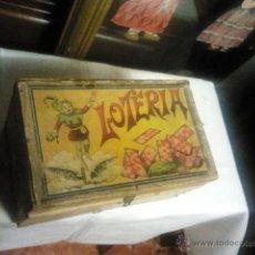 Juegos de mesa: JUEGO DE LOTERIA ANTIGUO FICHAS EN MADERA. CAJA ORIGINAL EN MADERA.. Lote 40040545
