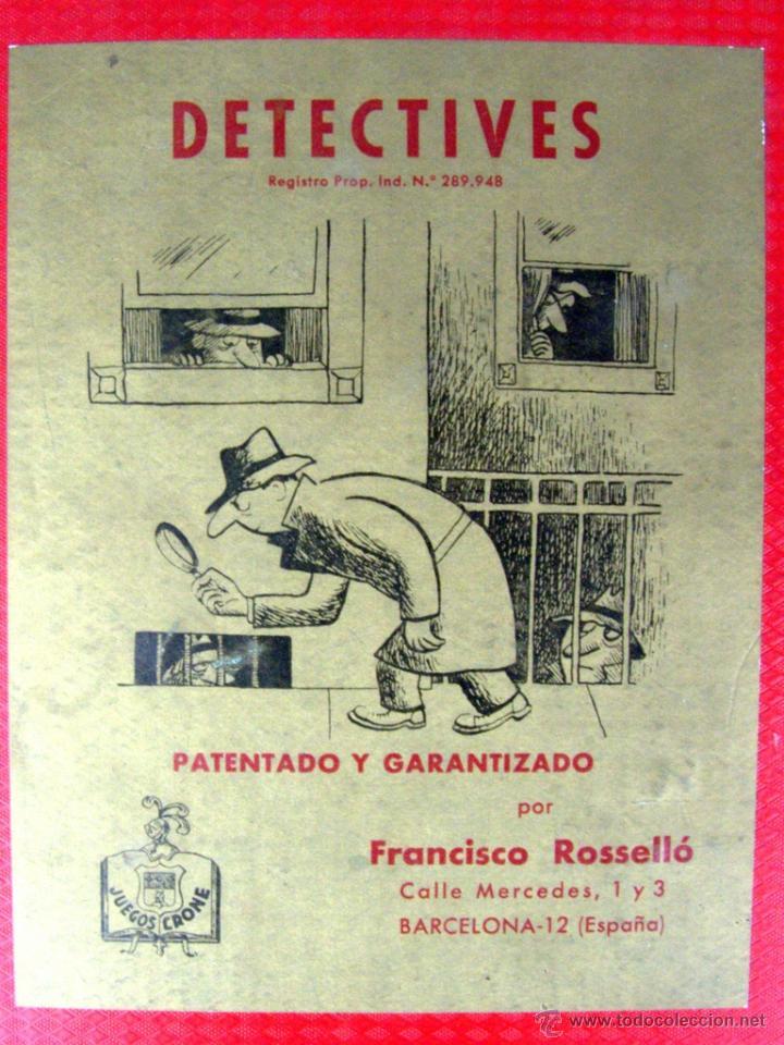 DETECTIVES - JUEGOS CRONE - AÑOS 50' (TABLERO DE JUEGO) (Juguetes - Juegos - Juegos de Mesa)