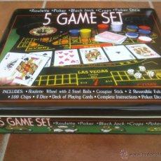 Juegos de mesa: CAJA METALICA DE JUEGOS DE; RULETA POCKER BLACK JACK CRAPS POCKER DICE. Lote 42856660