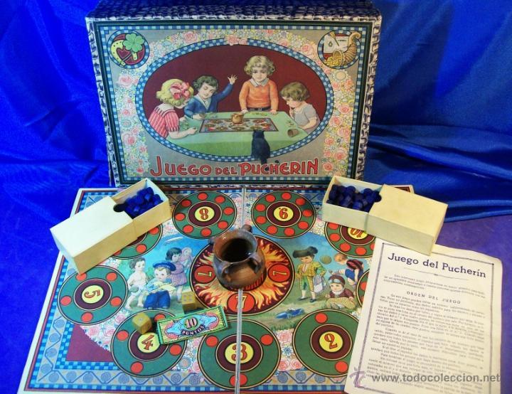 Juegos de mesa: ANTIGUO JUEGO DE EL PUCHERIN ESPAÑA AÑOS 1900 APROX JUEGO DE MESA AGAPITO BORRAS - Foto 3 - 43773459