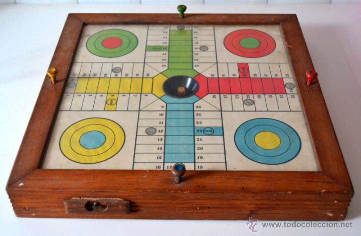 Antiguo parchis automatico cajon guarda ficha comprar - Guarda juguetes madera ...