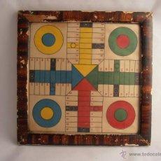 Juegos de mesa: ANTIGUO TABLERO DE PARCHIS PEQUEÑO MARCO MADERA Y CRISTAL. Lote 44924359
