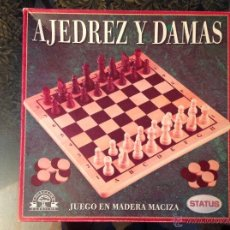 Juegos de mesa: JUEGO DE AJEDREZ Y DAMAS STATUS DE MADERA MACIZA, NUEVO. VER FOTOS.. Lote 45626426