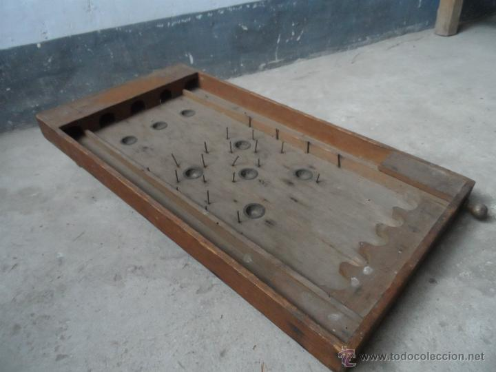 Juguete pinball antiguo de canicas pieza de mus comprar for Mesa carro bar madera
