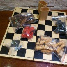 Juegos de mesa: AJEDREZ - DAMAS - BACKGAMMON - TODO EN MADERA - TABLERO PLEGABLE - MARIGO - NUEVO. Lote 46162124