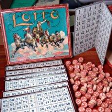 Juegos de mesa: MUY ANTIGUO LOTTO ANTIGUO BINGO EN CAJA ORIGINAL CON CARTONES Y FICHAS DE MADERA EDICION GRANDE. Lote 78212014
