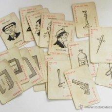 Juegos de mesa: ANTIGUAS CARTAS DEL CLUEDO DE JUEGO MESA ANTIGUO ¿ AÑOS 50 60 ? PERSONAJES HABITACI ARMAS DICK TRACY. Lote 47549780