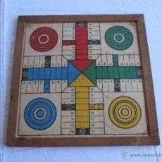 Juegos de mesa: PARCHIS Y OCA CARTON MARCO DE MADERA ANTIGUO. Lote 49336365