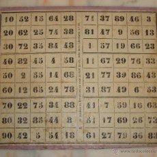 Juegos de mesa: MUY ANTIGUO CARTON DE LOTERIA . Lote 49868539