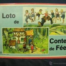 Juegos de mesa: JUEGO SWISS LOTO CONTES FÉES CUENTOS HADAS AÑOS 40 CARLIT ZURICH SUIZA FICHAS NUEVAS 25X35X4CMS. Lote 50235589