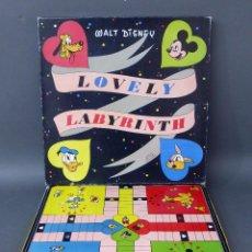 Juegos de mesa: LOVELY LABYRINTH PARCHIS WALT DISNEY AÑOS 60 COMPLETO CON CAJA. Lote 50943731