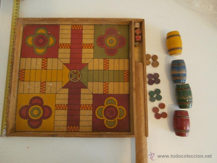 Antiguo Parchis Tablero Con Cajon Y Tapa Ficha Comprar Juegos De