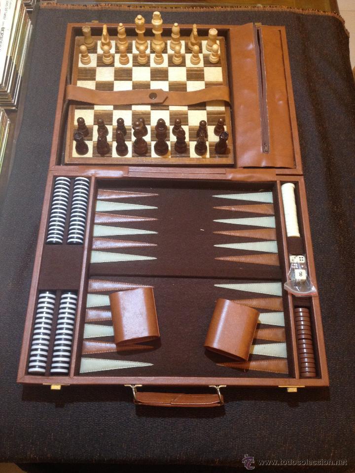Maletin Piel Juegos Mesa Backgammon Damas Y Comprar Juegos De