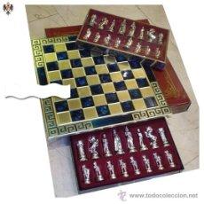 Juegos de mesa: AJEDREZ FIGURAS CABALLEROS MEDIEVALES + TABLERO ACERO ESMALTADO. 45 X 45 CMS. Lote 52606559