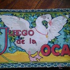 Juegos de mesa: ANTIGUO JUEGO DE LA OCA S XIX CAJA, TABLERO, DADO DE MADERA, 3 FICHAS E INSTRUCCIONES. Lote 53102046