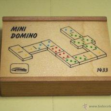Juegos de mesa: MINI DOMINO GOULA CON CAJA DE MADERA (11,3X7,8) FICHAS DE MADERA (3,2X1,6). Lote 54589974