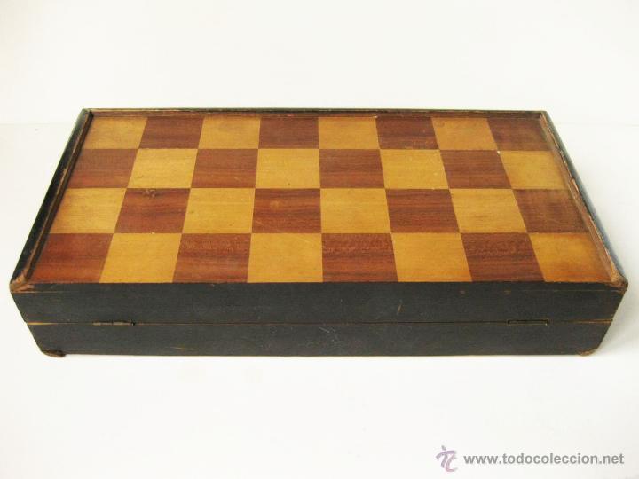 Juegos de mesa: ANTIGUO AJEDREZ CAJA DE MADERA Y MARQUETERIA DE PRINCIPIOS DEL SIGLO XX SIN PIEZAS - Foto 7 - 54696815