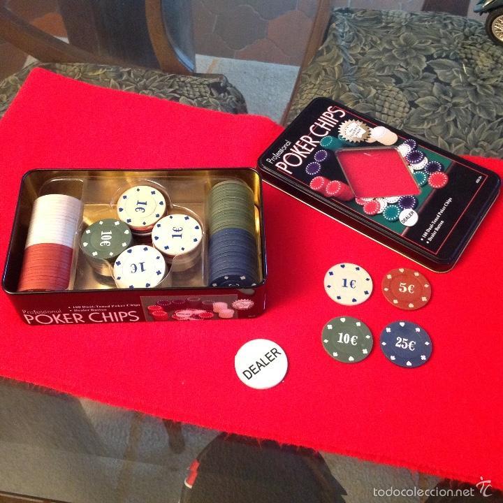 Juegos de mesa: Caja de lata, chapa, de fichas para juego, poker, profesional, bien conservada. 1, 5, 10, y 25€ - Foto 2 - 55382824