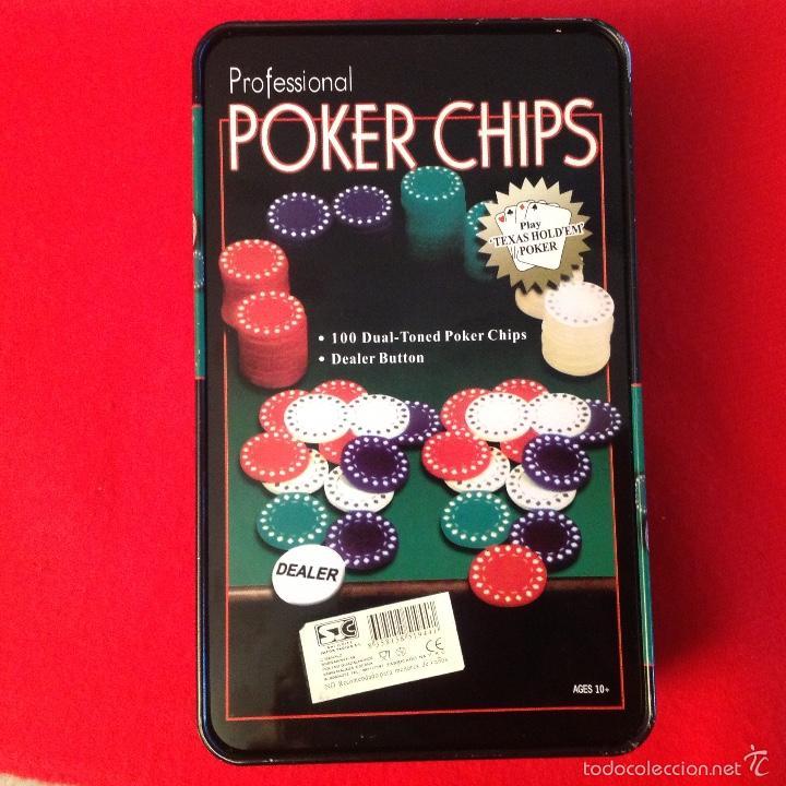 Juegos de mesa: Caja de lata, chapa, de fichas para juego, poker, profesional, bien conservada. 1, 5, 10, y 25€ - Foto 3 - 55382824