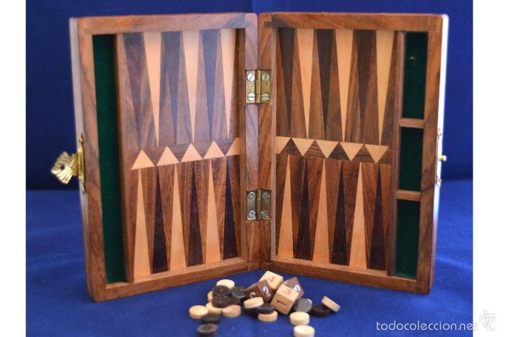 Precioso Pequeno Backgammon En Madera Marqueter Comprar Juegos De