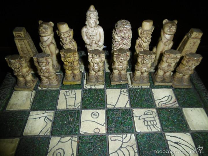 Juegos de mesa: ESPECTACULAR AJEDREZ VINTAGE MEXICO, VERDE Y CREMA 30X30 CMS, - Foto 3 - 56922888