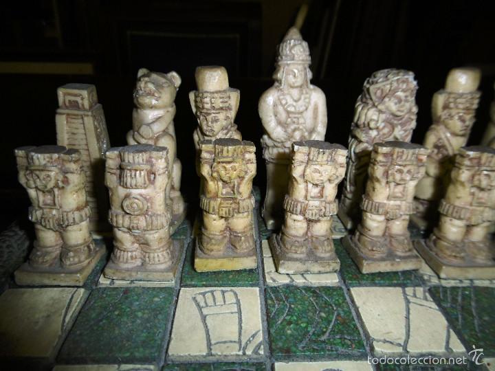 Juegos de mesa: ESPECTACULAR AJEDREZ VINTAGE MEXICO, VERDE Y CREMA 30X30 CMS, - Foto 8 - 56922888