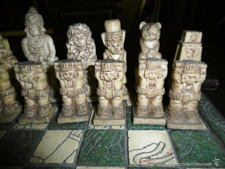 Juegos de mesa: ESPECTACULAR AJEDREZ VINTAGE MEXICO, VERDE Y CREMA 30X30 CMS, - Foto 9 - 56922888