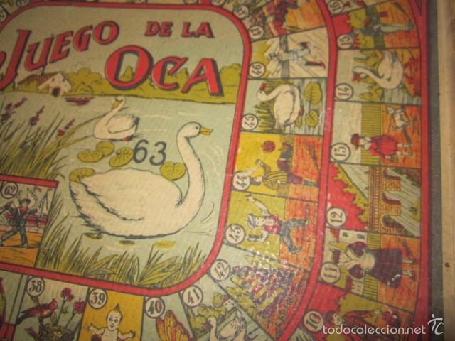 Juegos de mesa: Antiguo tablero Oca y Parchís de cartón con bordes de madera. 35 x 35 cms. - Foto 3 - 57101115