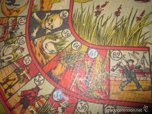Juegos de mesa: Antiguo tablero Oca y Parchís de cartón con bordes de madera. 35 x 35 cms. - Foto 4 - 57101115