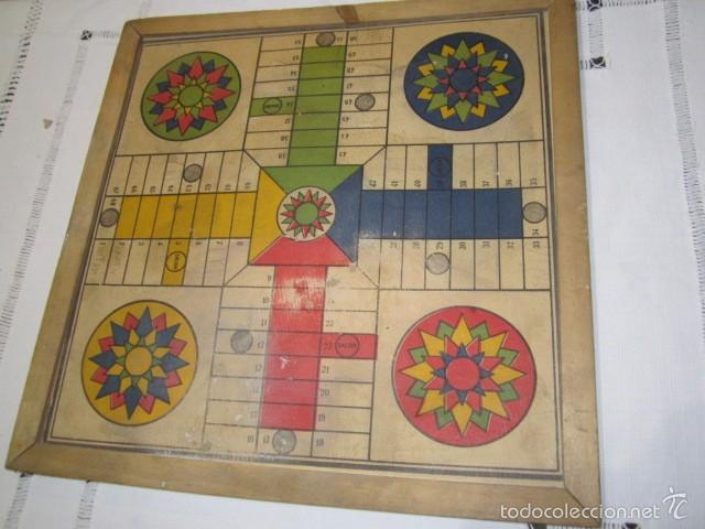 Juegos de mesa: Antiguo tablero Oca y Parchís de cartón con bordes de madera. 35 x 35 cms. - Foto 5 - 57101115